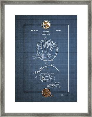 Baseball Mitt By Archibald J. Turner - Vintage Patent Blueprint Framed Print by Serge Averbukh