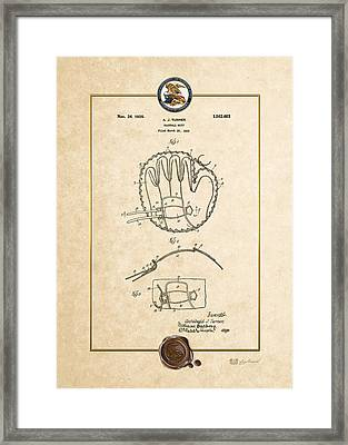 Baseball Mitt By Archibald J. Turner - Vintage Patent Document Framed Print by Serge Averbukh