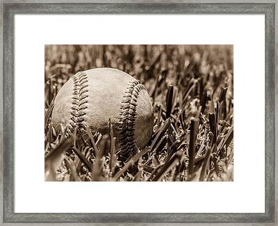Baseball Nostalgia Series Number Four Framed Print by Justin Woodhouse