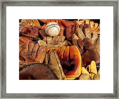 Baseball Of Old Framed Print by Art Block Collections