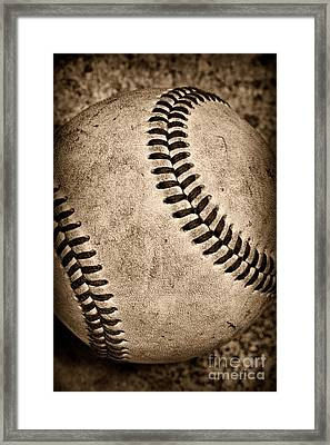Baseball Old And Worn Framed Print by Paul Ward