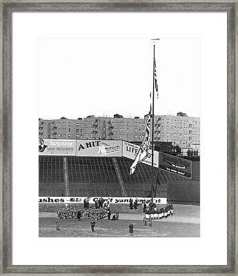 Baseball Opening Day In Ny Framed Print by Underwood Archives