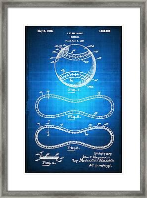 Baseball Patent Blueprint Drawing Framed Print by Tony Rubino