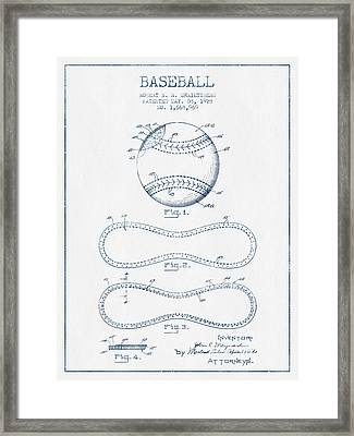 Baseball Patent Drawing From 1928 - Blue Ink Framed Print by Aged Pixel