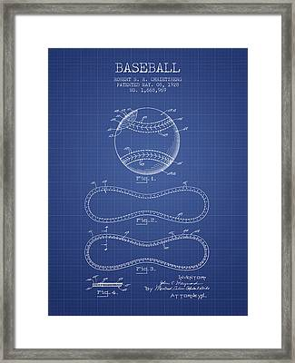Baseball Patent From 1928 - Blueprint Framed Print by Aged Pixel