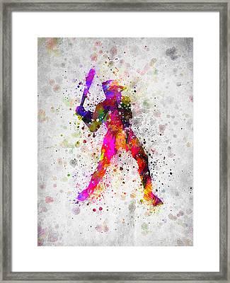 Baseball Player - Holding Baseball Bat Framed Print by Aged Pixel