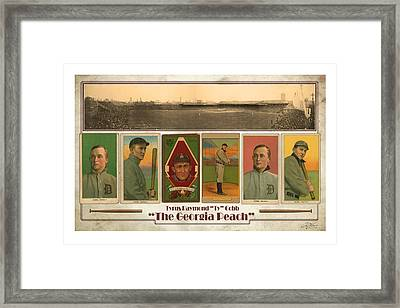 Baseball Player Ty Cobb Framed Print by Craig Tinder