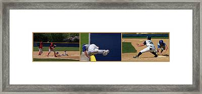 Baseball Playing Hard 3 Panel Composite 02 Framed Print by Thomas Woolworth