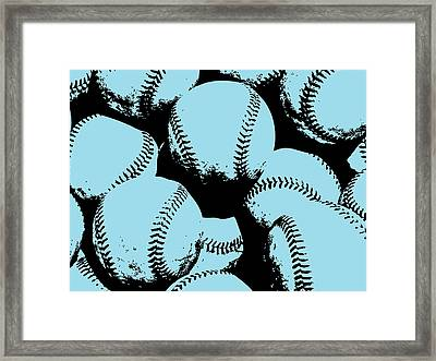 Baseball Pop Art Blue Framed Print by Flo Karp