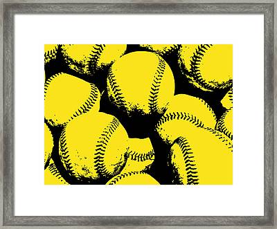 Baseball Pop Art Yellow Framed Print by Flo Karp