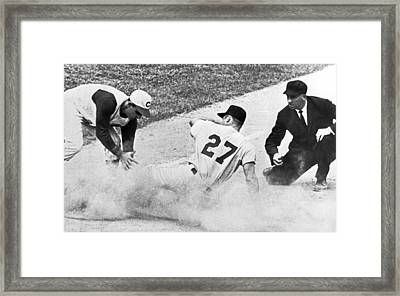 Baseball Runner Out At Third Framed Print by Underwood Archives