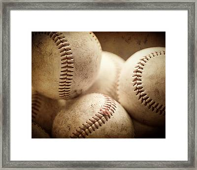 Baseball Sports Art Pile Of Well Worn Baseballs  Framed Print by Lisa Russo