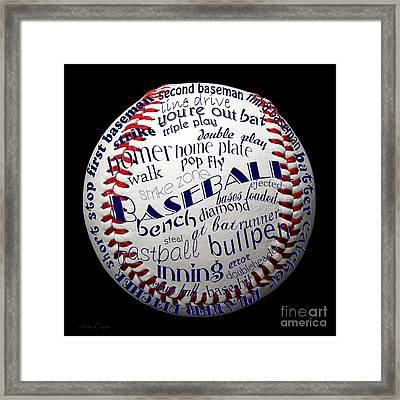 Baseball Terms Typography 1 Framed Print by Andee Design