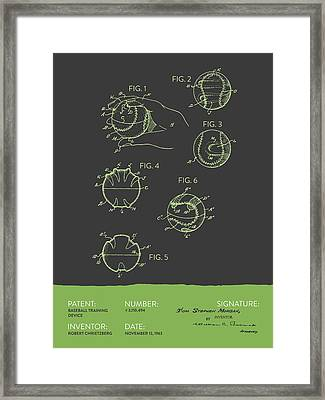 Baseball Training Device Patent From 1963 - Gray Green Framed Print by Aged Pixel