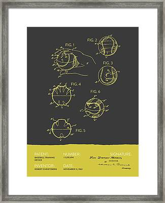 Baseball Training Device Patent From 1963 - Gray Yellow Framed Print by Aged Pixel