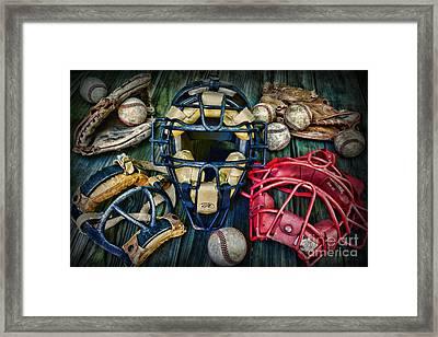 Baseball Vintage Gear Framed Print by Paul Ward