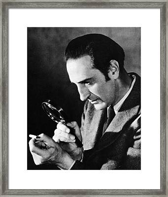 Basil Rathbone In Sherlock Holmes And The Voice Of Terror  Framed Print by Silver Screen