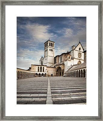 Basillica Of St Francis Of Assisi In Italy Framed Print by Susan  Schmitz