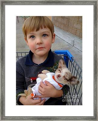 Basket Boy And Puppy Framed Print by Cadence Spalding