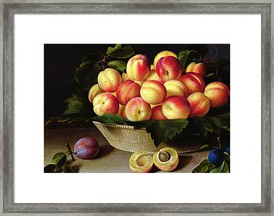 Basket Of Apricots Framed Print by Louise Moillon