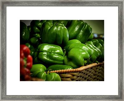 Basket Of Bell Peppers Framed Print by Julie Palencia