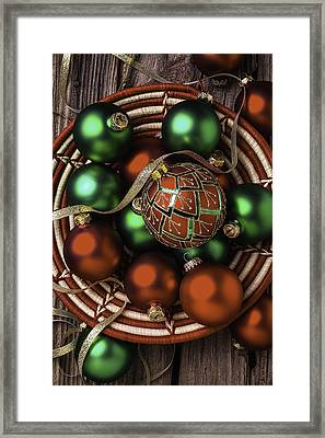 Basket Of Christmas Ornaments Framed Print by Garry Gay