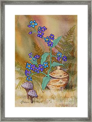 Basket Of Forgetmenots Framed Print by Teresa Ascone
