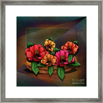 Basket Of Hibiscus Flowers Framed Print by Bedros Awak