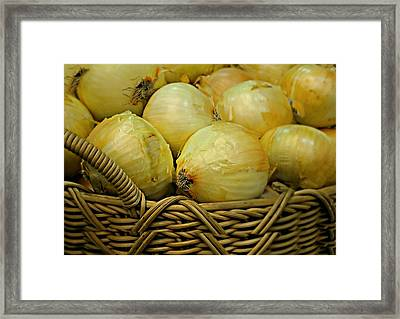 Basket Of Onions Framed Print by Diana Angstadt