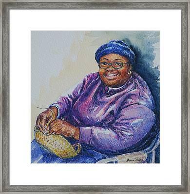 Basket Weaver In Blue Hat Framed Print by Sharon Sorrels