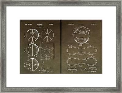 Basketball Baseball Patent 2 Framed Print by Dan Sproul