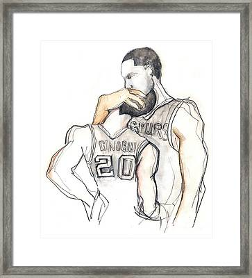 Basketball Brothers Framed Print by Carolyn Weltman
