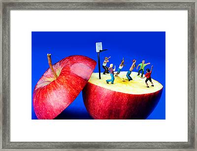 Basketball Games On The Apple Little People On Food Framed Print by Paul Ge