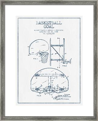 Basketball Goal Patent From 1944 - Blue Ink Framed Print by Aged Pixel