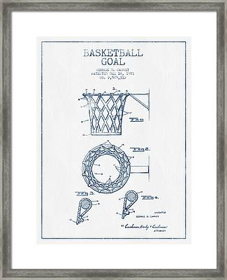 Basketball Goal Patent From 1951 - Blue Ink Framed Print by Aged Pixel