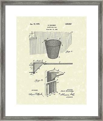 Basketball Hoop 1925 Patent Art Framed Print by Prior Art Design