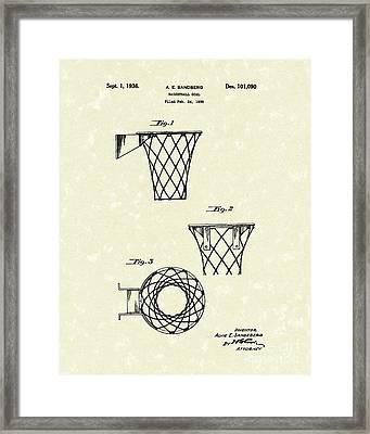 Basketball Hoop 1936 Patent Art Framed Print by Prior Art Design