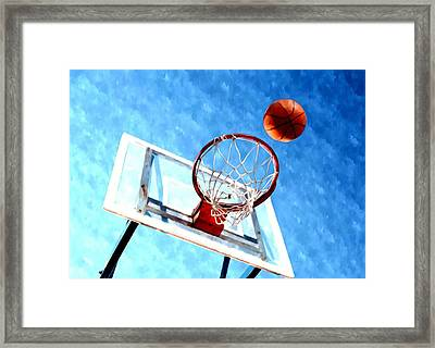Basketball Hoop And Ball 1 Framed Print by Lanjee Chee