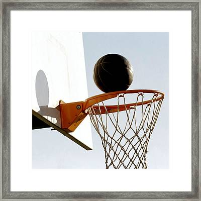 Basketball Hoop And Ball Framed Print by Lanjee Chee