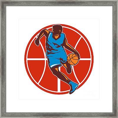 Basketball Player Dribble Ball Front Retro Framed Print by Aloysius Patrimonio