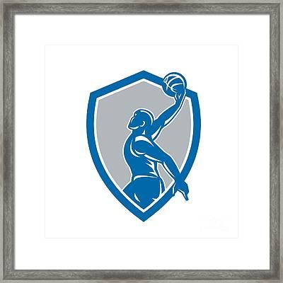 Basketball Player Dunk Ball Shield Retro Framed Print by Aloysius Patrimonio