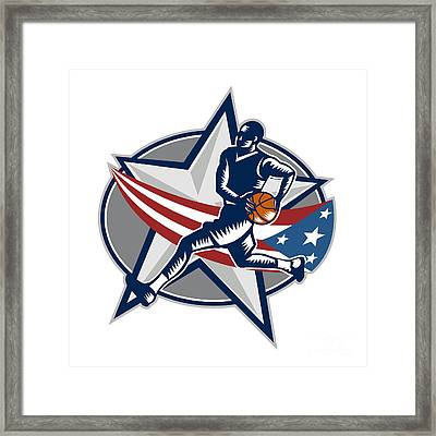 Basketball Player Fast Break Lay-up Woodcut Framed Print by Aloysius Patrimonio