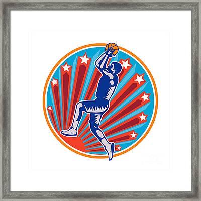 Basketball Player Jump Shot Ball Circle Woodcut Retro Framed Print by Aloysius Patrimonio