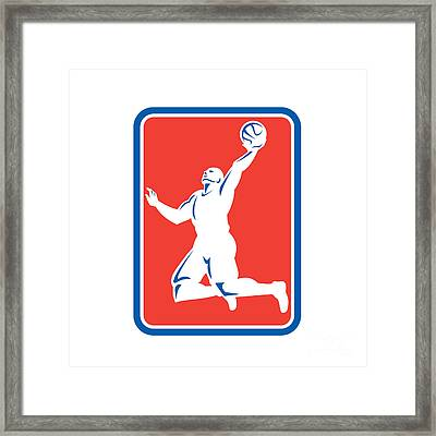 Basketball Player Rebounding Lay-up Ball Rectangle Framed Print by Aloysius Patrimonio