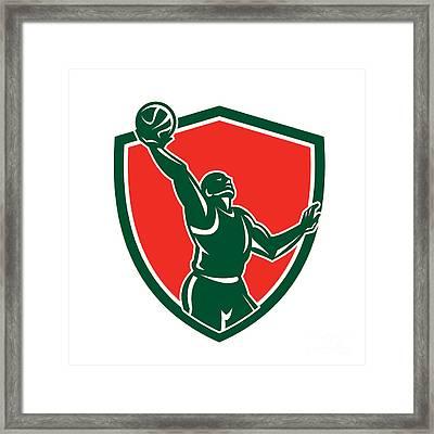 Basketball Player Rebounding Lay-up Ball Shield Framed Print by Aloysius Patrimonio