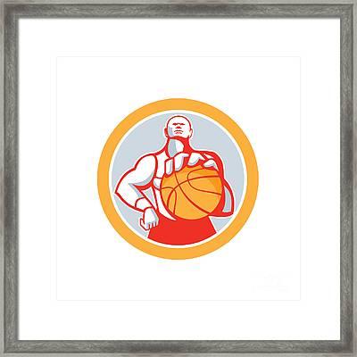 Basketball Player With Ball Circle Retro Framed Print by Aloysius Patrimonio