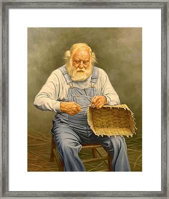 Basketmaker  In Oil Framed Print by Paul Krapf