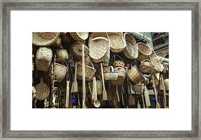 Baskets And Spoons Framed Print by Joan Carroll