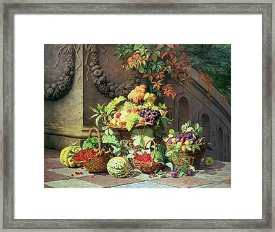 Baskets Of Summer Fruits Framed Print by William Hammer
