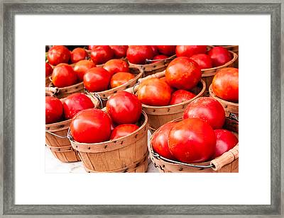 Baskets Of Tomatoes At A Farmers Market Framed Print by Teri Virbickis